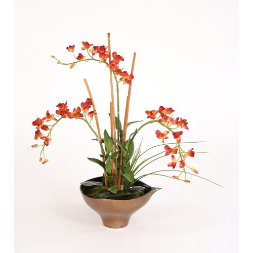 Distinctive Designs Silk Rust Orchids, Arrorog and Tropical Foliage in Leaf Bowl