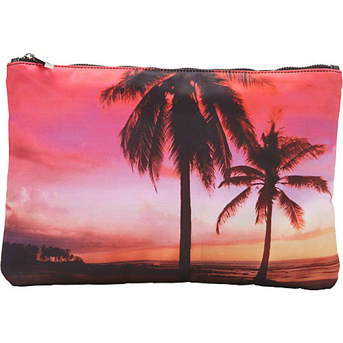 Ashley M Sunset By The Beach Scene Top Zip Clutch