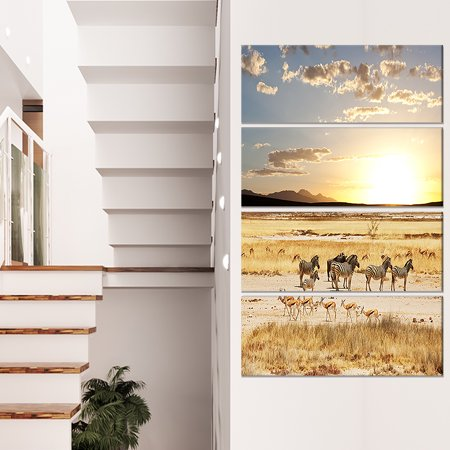 Zebras and Antelopes in Africa - Oversized African Landscape Canvas Art - image 3 of 3