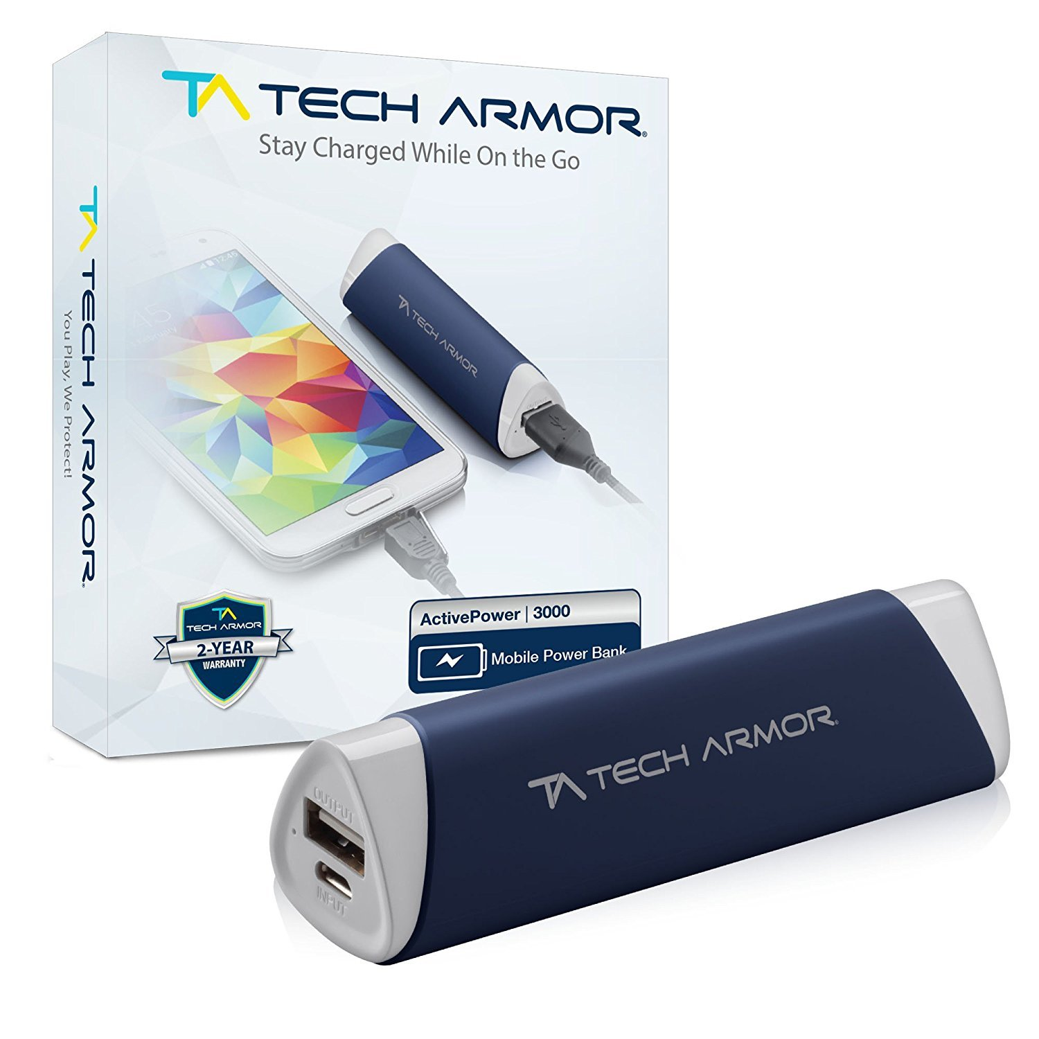 Tech Armor 3000mAh ActivePower PowerBank by External Battery Portable Dual USB Charger Power Bank - Fast Charging, High Capacity, Ultra Compact