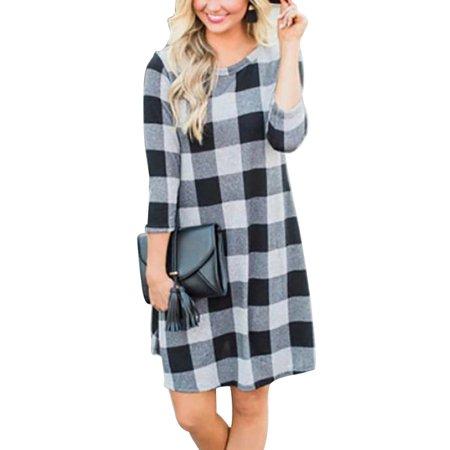 Women's Casual Tartan Plaid 3/4 Long Sleeve Loose Shirts Blouse Dress (Tartan Plaid Dress)