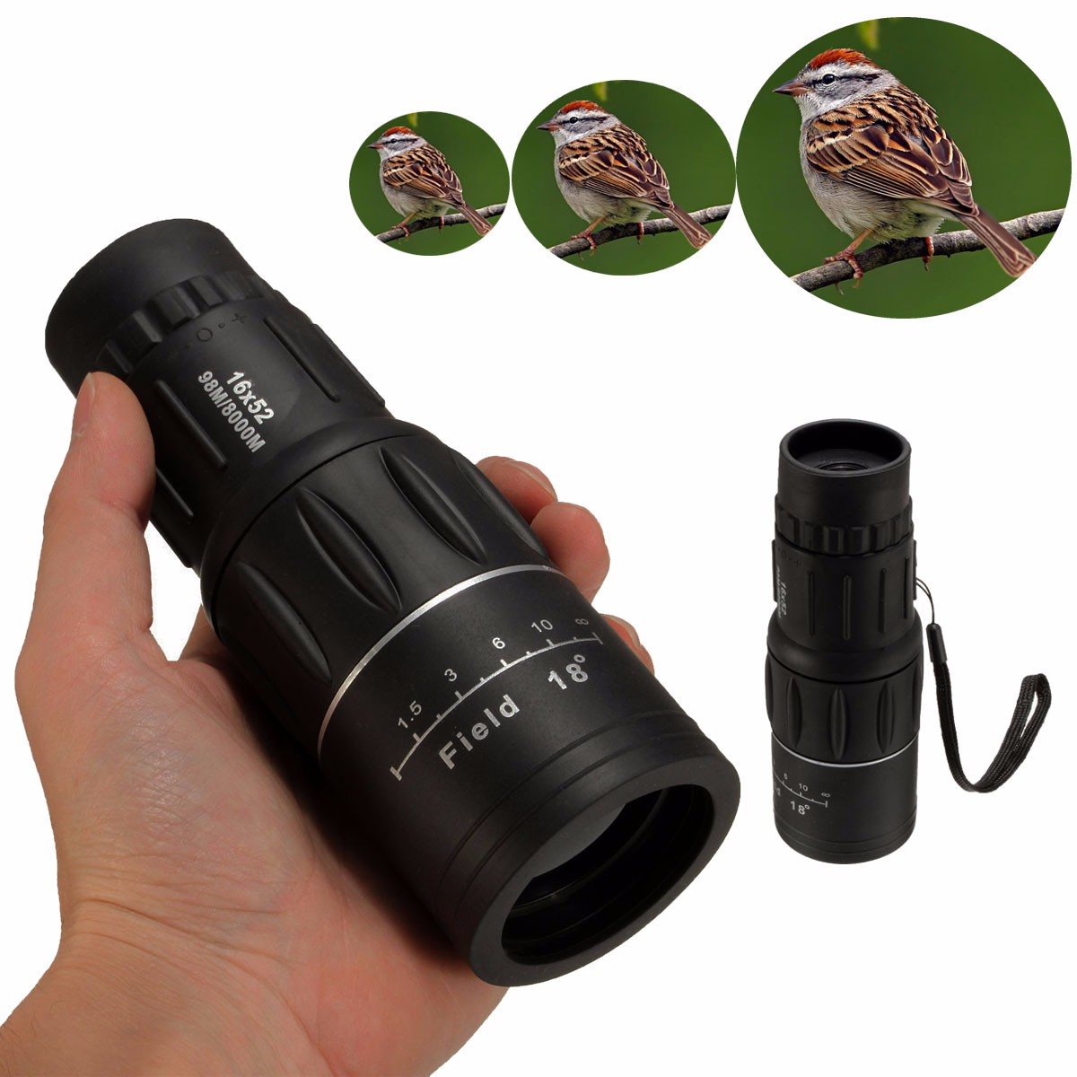 16x52 Dual Focus HD Optics Zoom Handheld Monocular Telescope Waterproof Day For Camping Hunting Hiking Bird Watching Sightseeing Sports Events Concerts