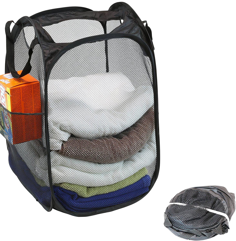 Aptoco 1 Pack Mesh Pop-Up Laundry Hamper Basket With Side Pocket, Black by BrightMart LLC