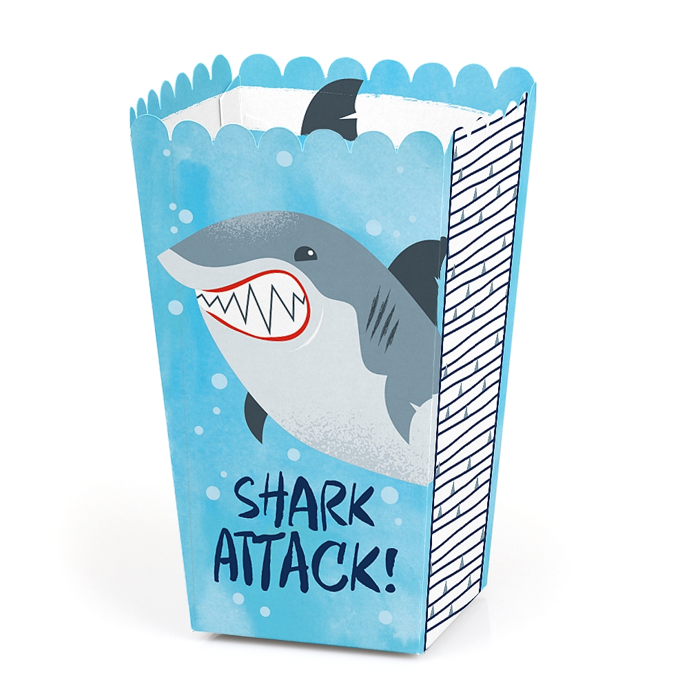 Shark Zone - Shark Week Party - Jawsome Shark Party or Birthday Party Favor Popcorn Treat Boxes - Set of 12