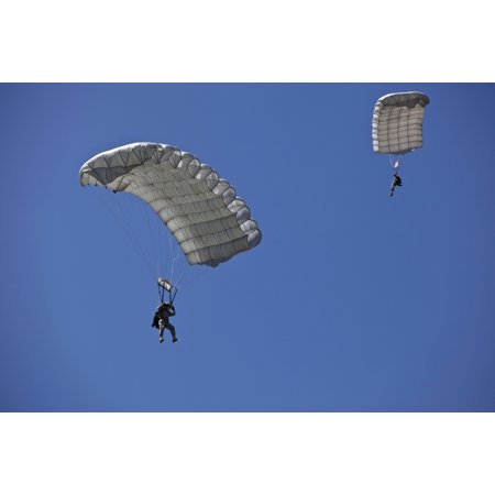 LAMINATED POSTER Two U.S. Army Green Berets conduct a High Altitude, Low Opening Airborne Jump over Iron Mike Drop Zo Poster Print 24 x 36 (Airborne Beret)