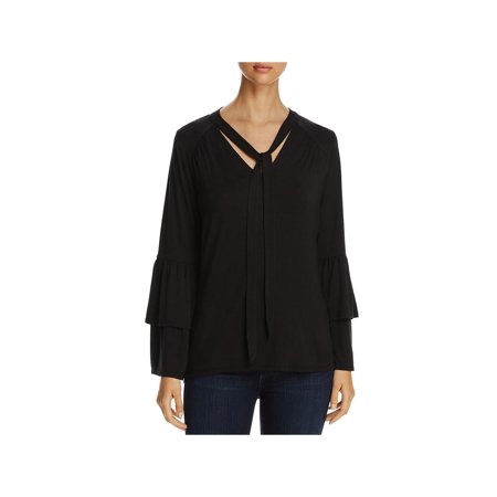 Avec Womens Tie-Neck Ruffle Sleeves Pullover Top (Avec Avec Remix)