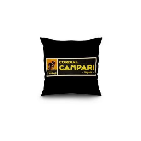 Cordial Campari Vintage Poster  Artist  Cappiello  Leonetto  France C  1921  16X16 Spun Polyester Pillow  Black Border