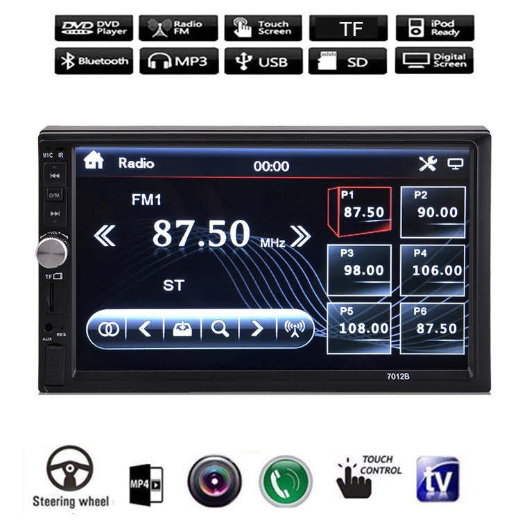 "7012B 7"" Double Din Car Stereo Auto Multimedia Player Kit HD Touch Screeen With Blueto oth iPod FM TF TV MP5 Camera Input"
