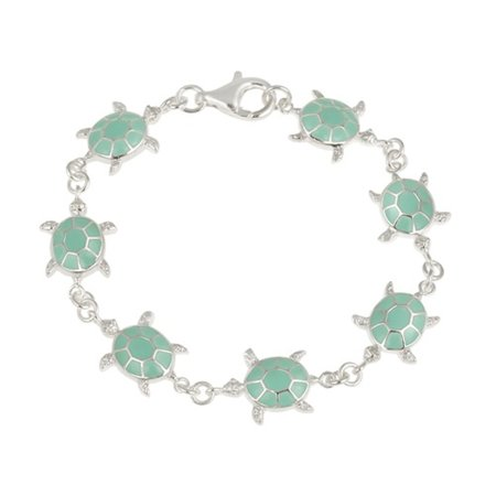 Sterling Silver Turquoise Enamel Turtle Bracelet