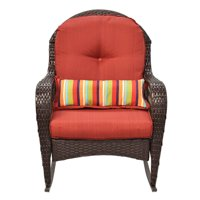 GHP 260Lbs Capacity Rattan Wicker Outdoor Patio Rocking Chair with Padded Cushion