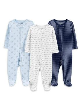 Child of Mine by Carter's Baby Boys Interlock Cotton Sleep 'N Play Pajamas, 3-Pack (Preemie-9M)