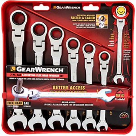 GearWrench 9700 7 Piece Flex-Head Combination Ratcheting Wrench Set - 7 Piece Locking Flex Ratcheting