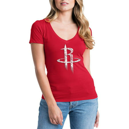 Houston Rockets Womens NBA Short Sleeve Baby Jersey V-neck Adidas Houston Rockets Short Sleeve T-shirt