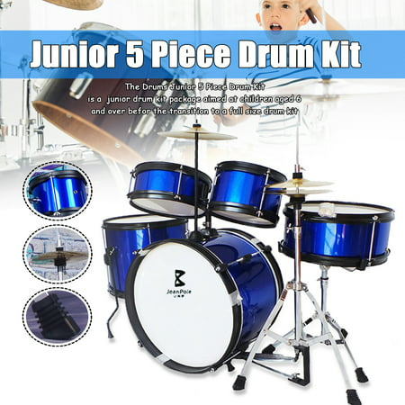 On Clearance 5-Piece Junior Professional Drum Set Drum Kit Bass Drum + Floor Tom + Snare Drum + Tom Tom + Stand Set for Beginner Children Kids Drummer Black Blue Red