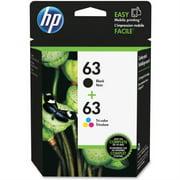 HP 63 Ink Cartridges - Black, Tri-color, 2 Cartridges (L0R46AN)