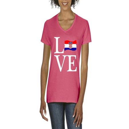 Love Croatia Flag Women's V-Neck T-Shirt Tee Clothes (Croatia Flag T-shirt)