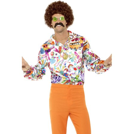 Mens 60s 70s Groovy Dude Multi-colored Disco Shirt Costume - 70s Clothes Men