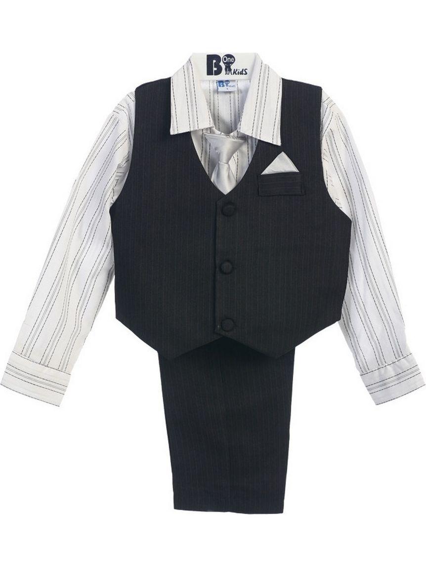B-One Four Piece Black Striped White Shirt Black Toddler Boys Vest Set 2T-3T