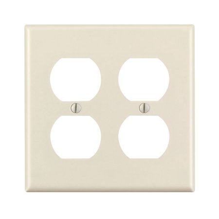 Leviton 78016 2-Gang Duplex Device Receptacle Wallplate, Standard Size, Thermoset, Device Mount, Light Almond