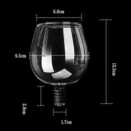 Unique Transparent Glass Red Wine Bottle Screwing Drinking Straight Cup - image 4 de 8