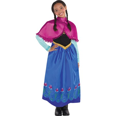 Costumes USA Frozen Anna Costume for Girls, Include Her Classic Blue Dress and a Bright Pink Capelet - Hers And Hers Halloween Costumes