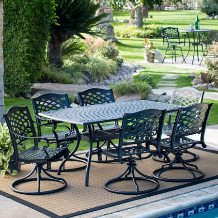 Aluminum 7 Piece Patio - Belham Living Sorrento Aluminum Rectangle 7 Piece Patio Dining Set