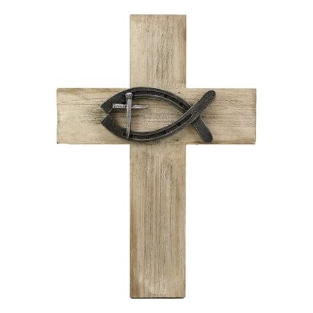 Ebros Rustic Wooden Greek Ichthys Christ Fish Symbol Wall Cross Decor Plaque 14
