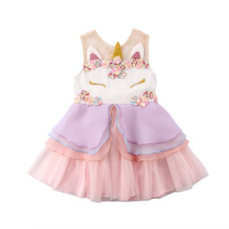Fashion Toddler Newborn Baby Girls Unicorn Flower Party Dress Princess Wedding Bridesmaid Tutu Tulle Dresses 0-1 Years](Tutu Dress Girl)
