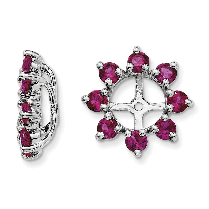 Sterling Silver Rhodium Created Ruby Earring Jacket QJ116JUL