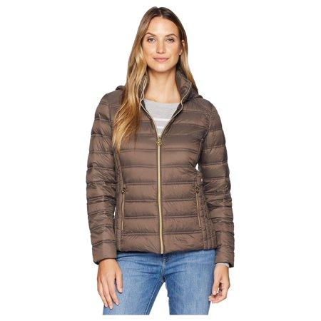 MICHAEL Michael Kors Women's Zip Front Packable Removable Hood M823157G Mocha Small](michael kors packable puffer coat)