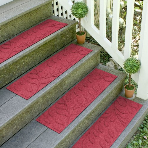 Bungalow Flooring Aqua Shield Red Brittany Leaf Stair Tread (Set of 4)