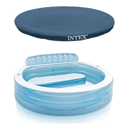 Intex swim center inflatable family lounge pool w built in bench 8 foot cover for Intex swim centre family lounge pool cover