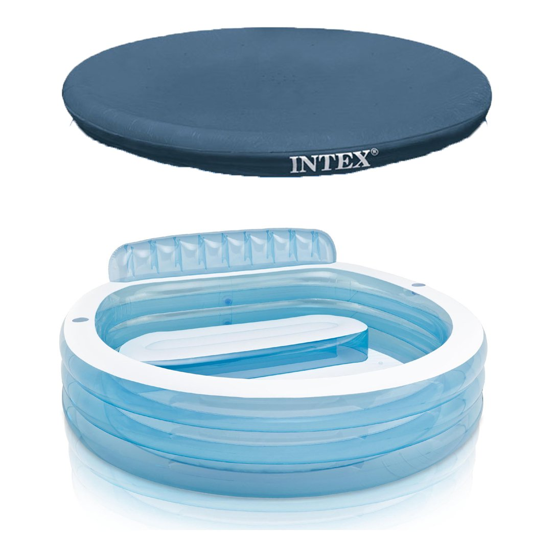 Intex Swim Center Inflatable Family Lounge Pool w/ Built In Bench & 8 Foot Cover
