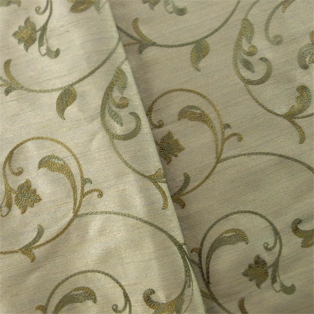 Taupe Green Vine Embroidered Drapery Fabric By The Yard