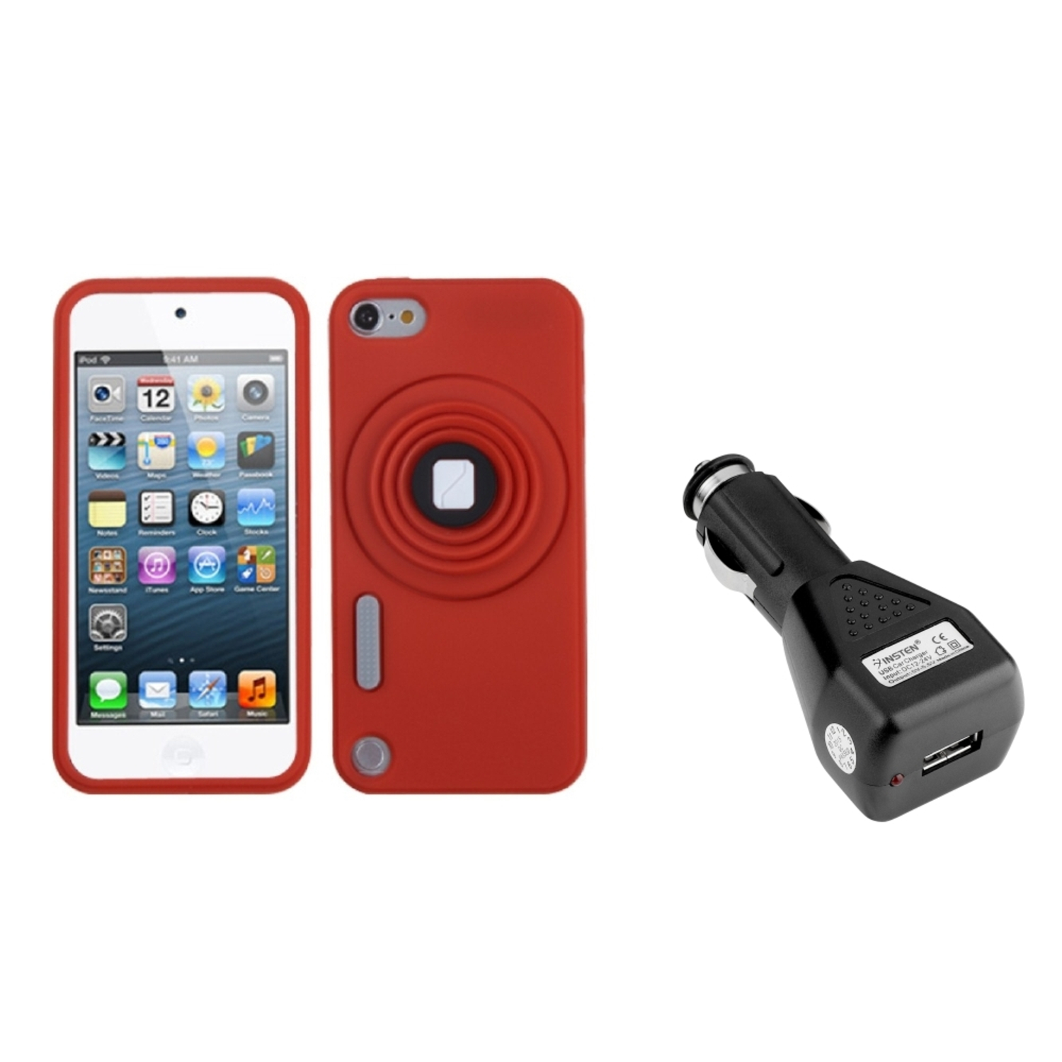 Insten Red Camera Style Stand Pastel Cover (Lanyard) Case For iPod Touch 6 6G 5 5G (+USB Car Charger)