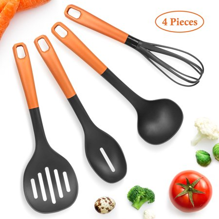 SHINEURI Kitchen Silicone Cooking Utensils 4 Pieces Set - Non stick Cookware Slotted Spoon, Whisk, Ladle, Slotted Skimmer Heat Resistant up to 350 ̊F for All Cooking Tasks Silicone Cooking Spoon