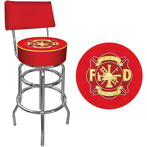 "Trademark Fire Fighter 40"" Padded Bar Stool with Back, Chrome"