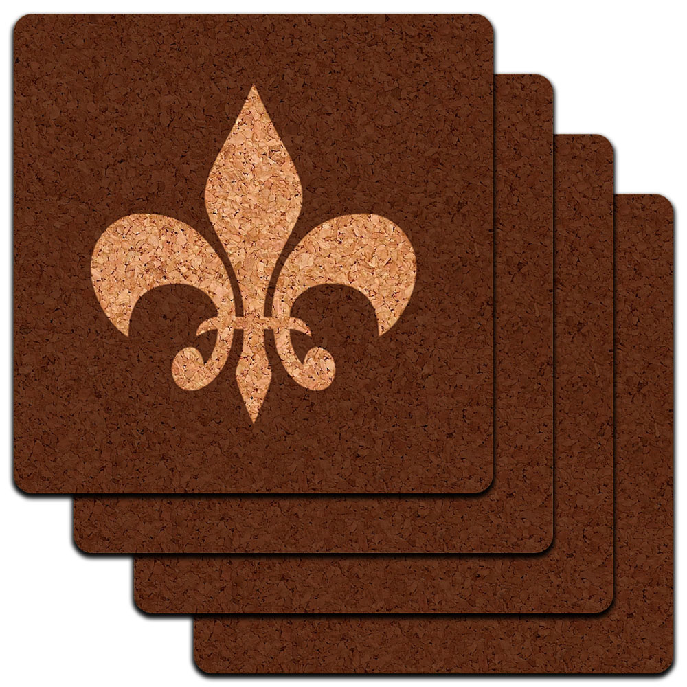 Fleur de Lis Brown Low Profile Cork Coaster Set