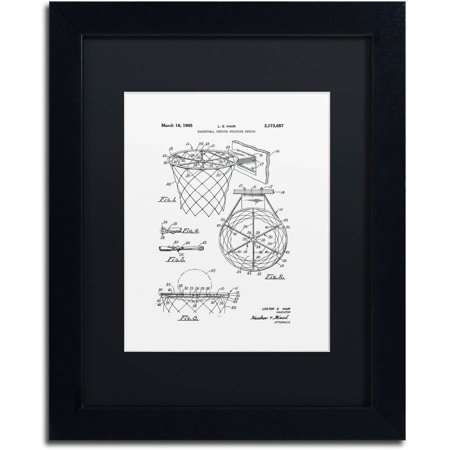 Trademark Fine Art  Basketball Hoop Patent 1965 White  Canvas Art By Claire Doherty  Black Matte  Black Frame