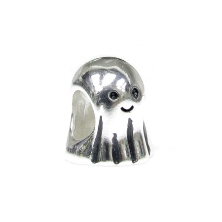 Queenberry Sterling Silver Lovely Ghost Halloween European Style Bead Charm Fits Pandora