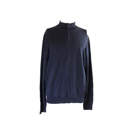 Bloomingdales Steel Blue Zip Merino Mock Neck Sweater Xl