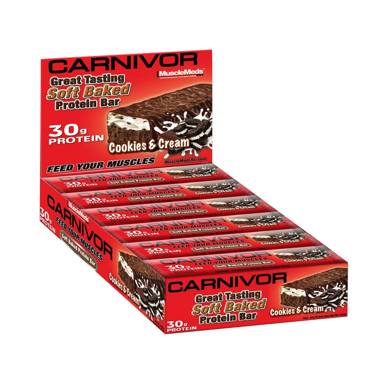 MuscleMeds Carnivor Soft Baked Protein Bar, Cookies and Cream, 3.2 Oz, 12 Ct