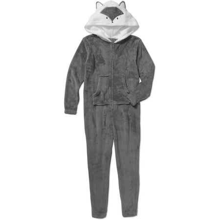 Girls' Plush One Piece PJ with 3D Hood (Girls Sleepwear)