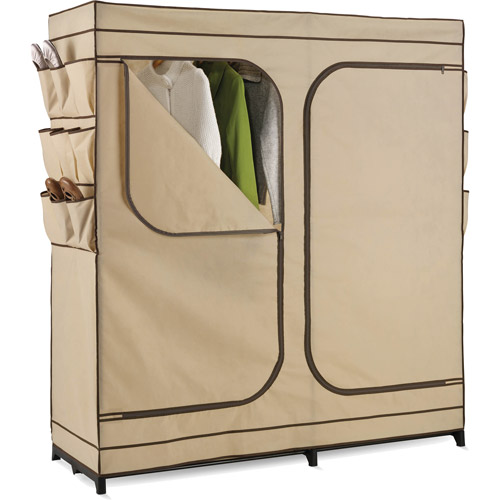 "Honey-Can-Do 60"" Double Door Storage Closet with Shoe Organizer, Khaki/Brown Trim"