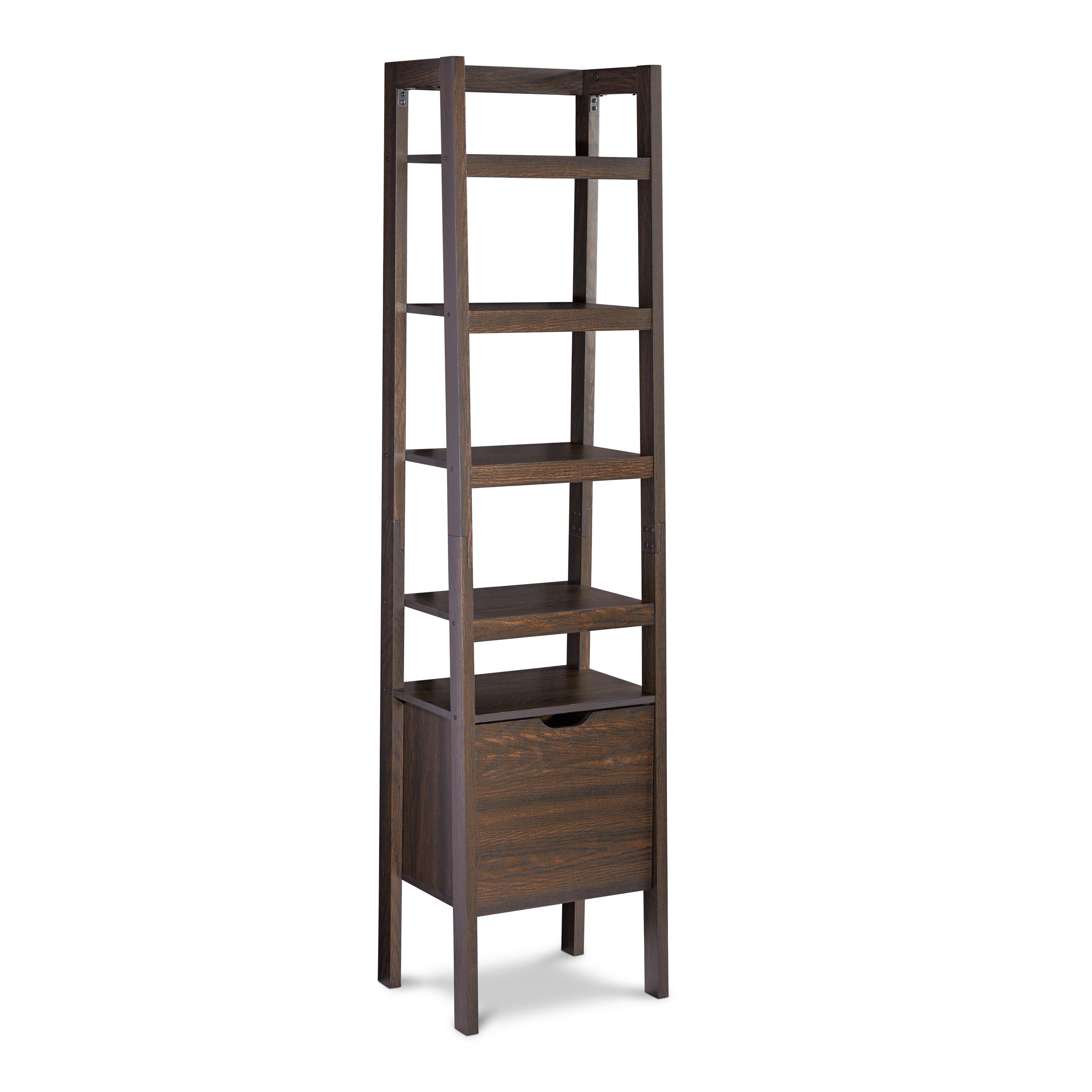 "Better Homes & Gardens Bristol 18"" Leaning Wall Storage Audio Tower, Dark Oak, 72"""