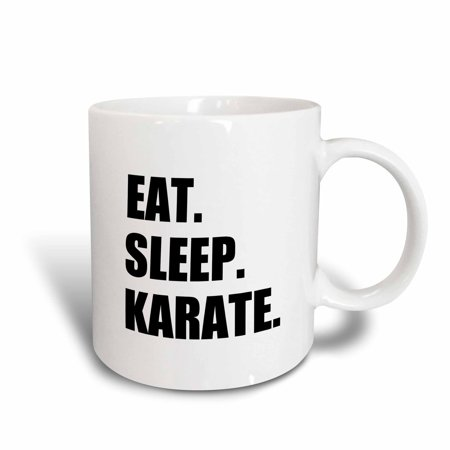 3dRose Eat Sleep Karate - martial art enthusiast gift - black text typography, Ceramic Mug, 11-ounce