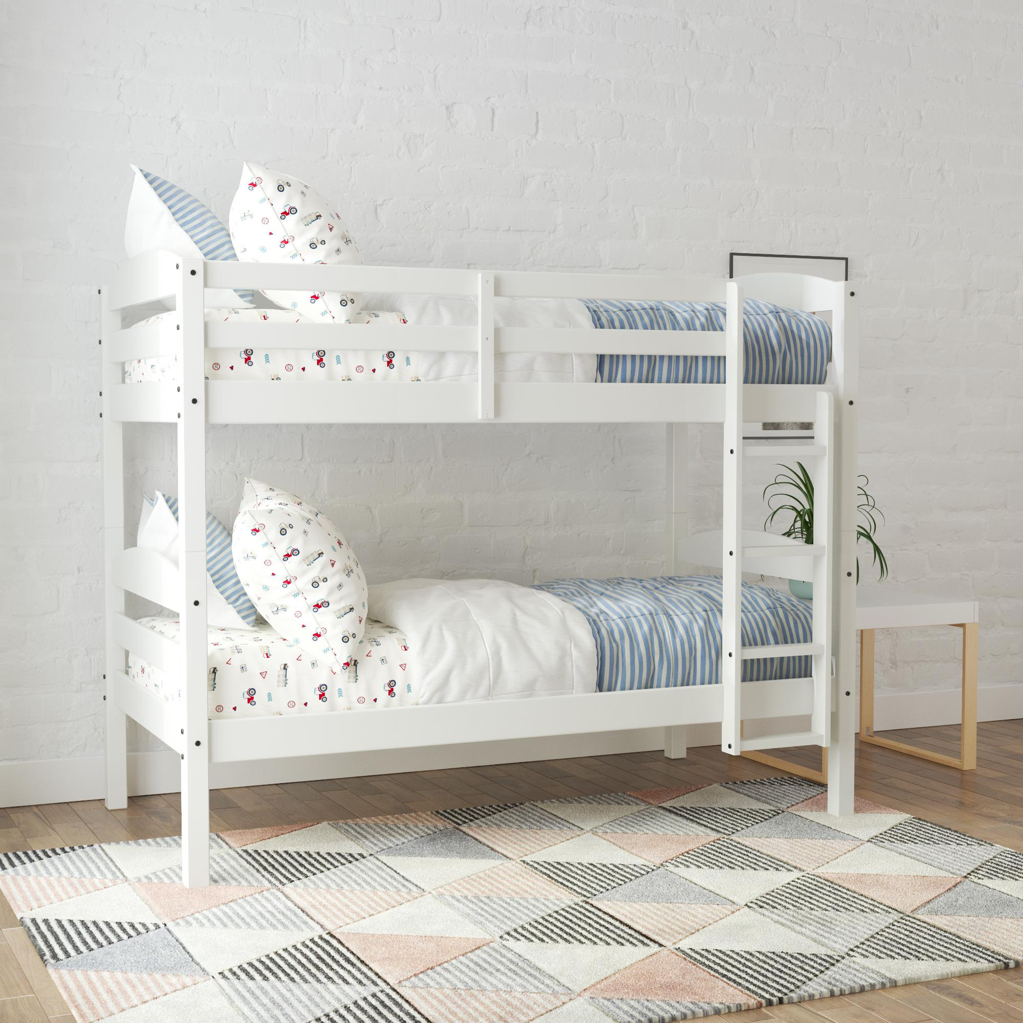 Picture of: Better Homes Gardens Leighton Wood Twin Over Twin Bunk Bed White Walmart Com Walmart Com