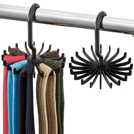 Space Saving Tie Rack Hangers - (2 Pack) Convenient Hanging Organizer with 20 Hooks for Neckties, Bow Ties, Belts, Bra, Scarves & More
