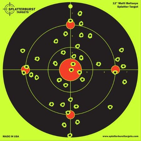 10 Pack - 12 inch Multi Bullseye - Splatterburst Shooting Targets - AirSoft thumbnail