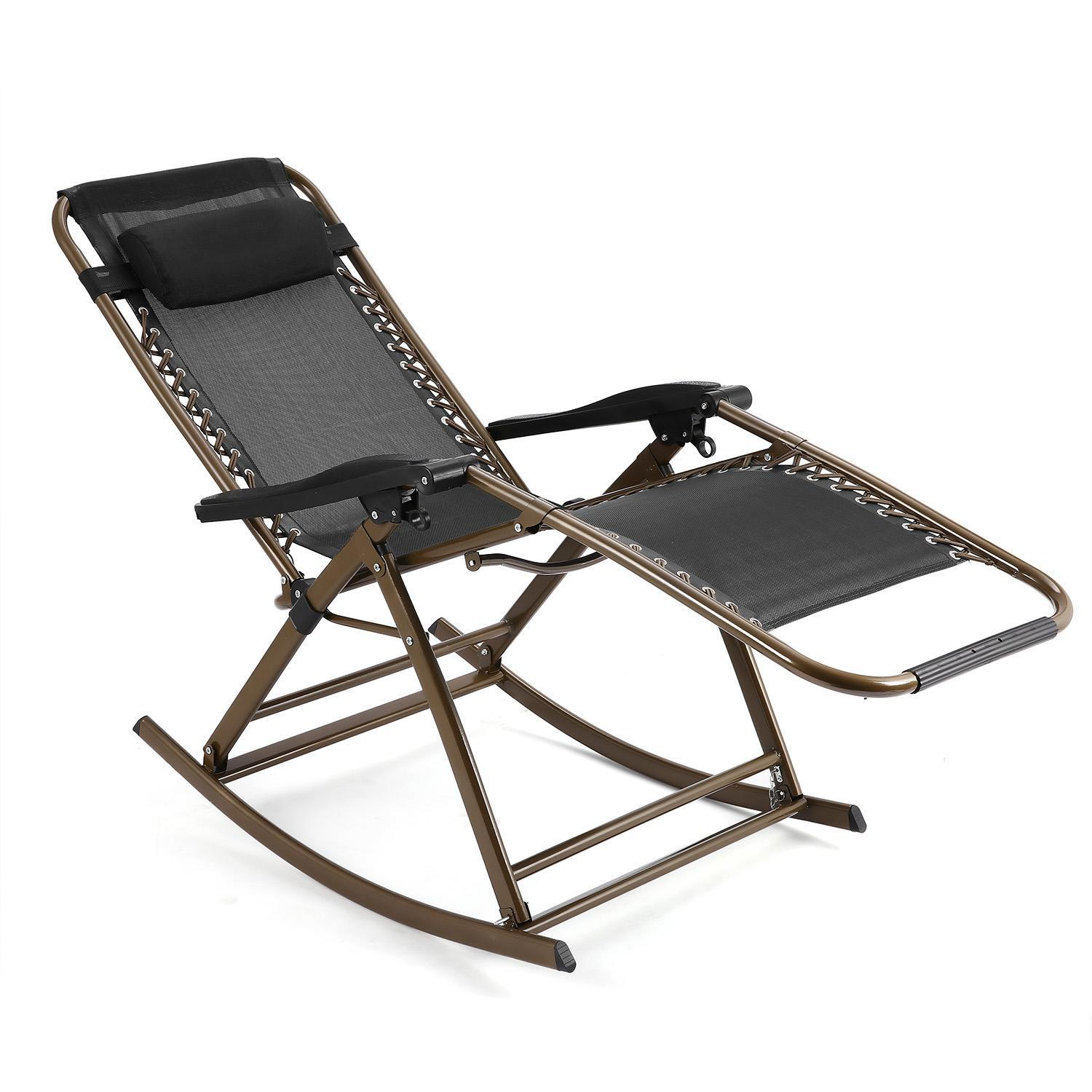 Folding Rocking Chair Zero Gravity Rocker Reclining Chair with Adjustable Pillow for Patio Garden Lawn Home  sc 1 st  Walmart & Outdoor Recliners - Walmart.com islam-shia.org